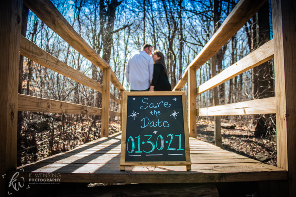 Save-the-date photo on the bridge.