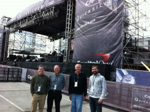 """Reelsound audio crew; Mason Harlow, Malcolm Harper, Greg Klinginsmith and Will Harrison before 2014 NCAA Final Four Pep Rally concert with """"Kid Rock"""" in Arlington, TX at the AT&T Stadium."""