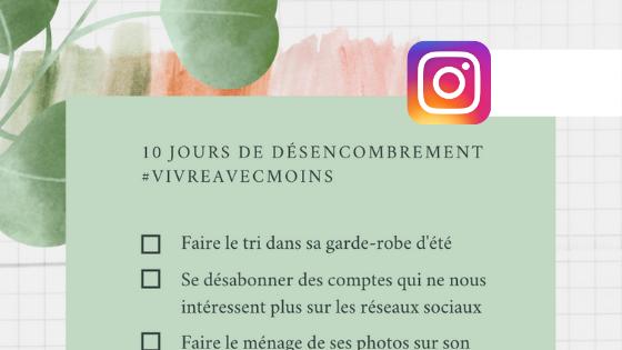 defi 10 jours désencombrement vivre avec moinsSur Instagram