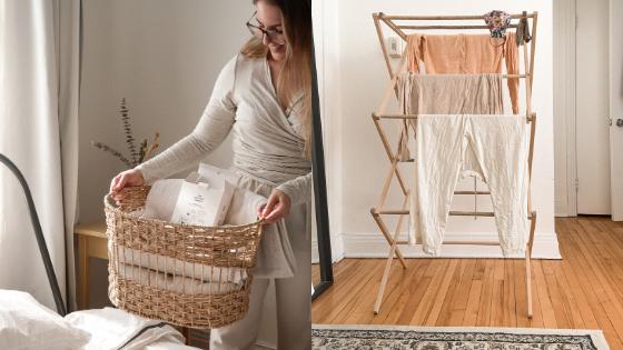 The unscendco façons astuces étendoir vêtements zéro déchet écologique de faire la lessive vêtements biodégradable hydrosoluble
