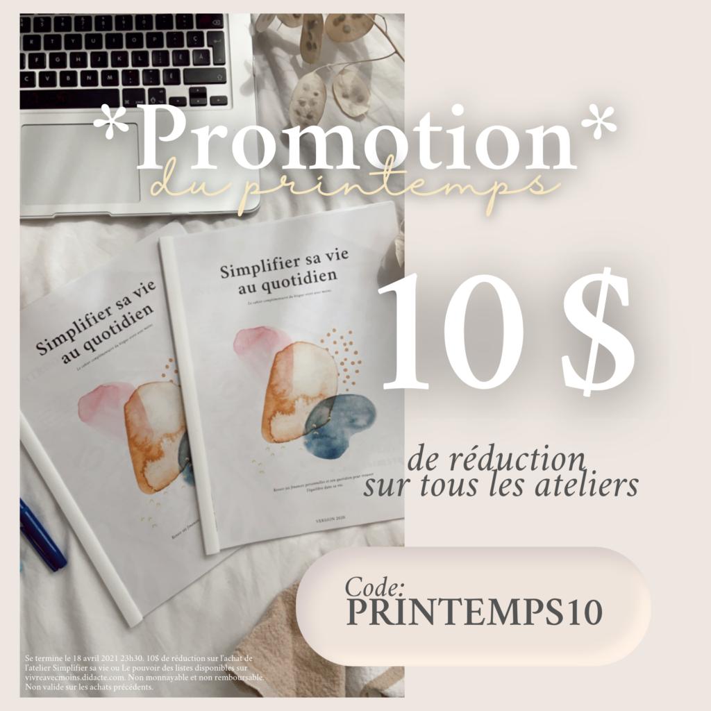 Promo printemps 10 $ rqabais atelier pop up
