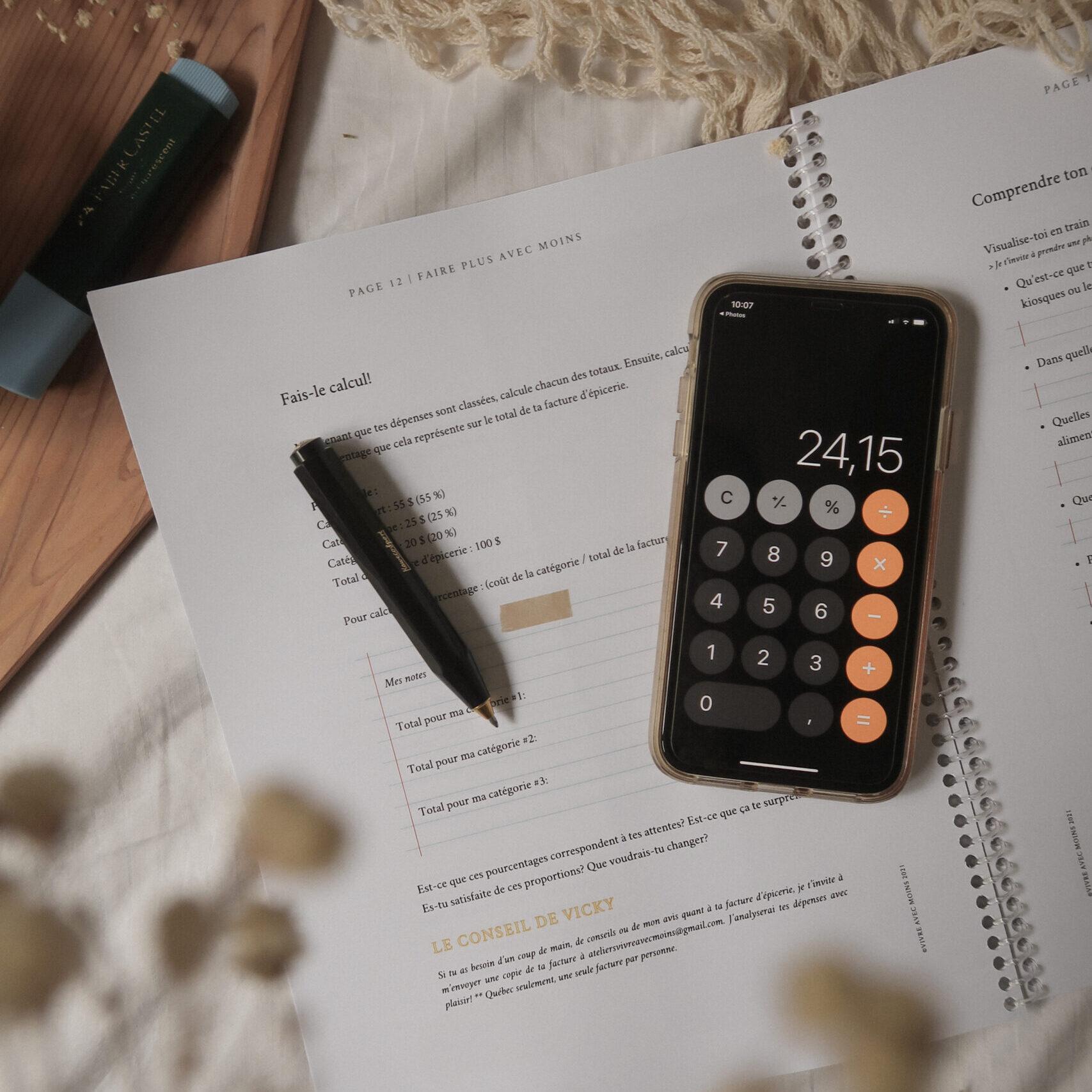 Faire plus avec moins atelier calculatrice