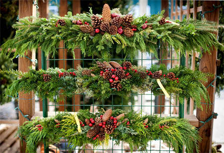 Live balsam fir swags and Hand-made live christmas wreaths at Homestead Garden Center, Williamsburg