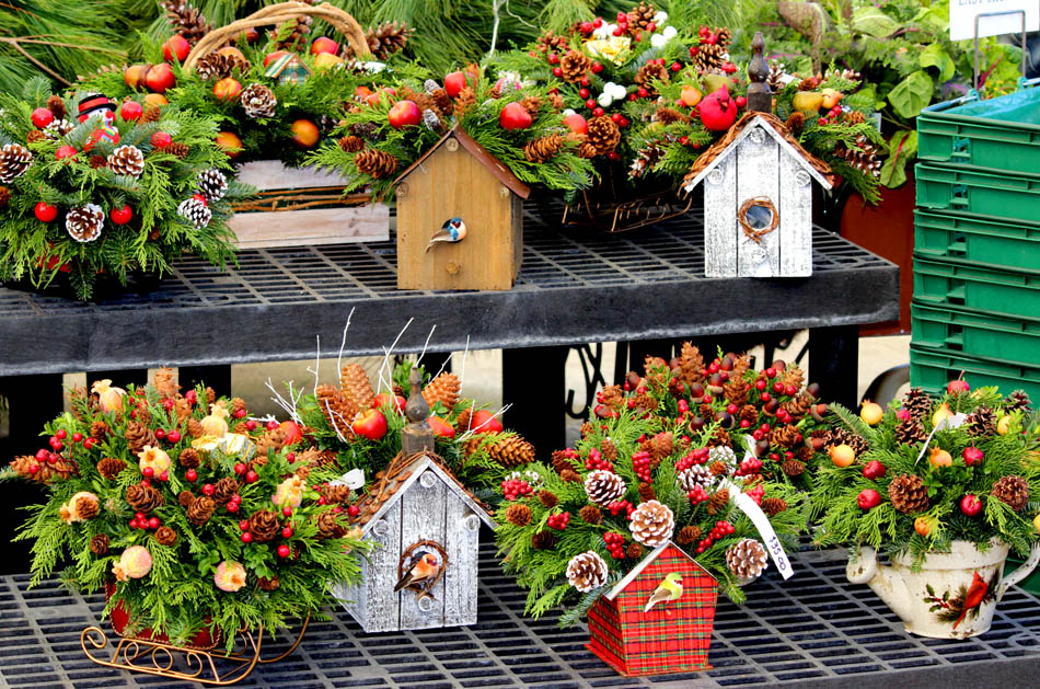 Holiday decorated birdhouses and handmade live evergreen decorations Hand-made live christmas wreaths at Homestead Garden Center, Williamsburg