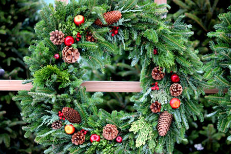 Hand-made live christmas wreaths at Homestead Garden Center, Williamsburg
