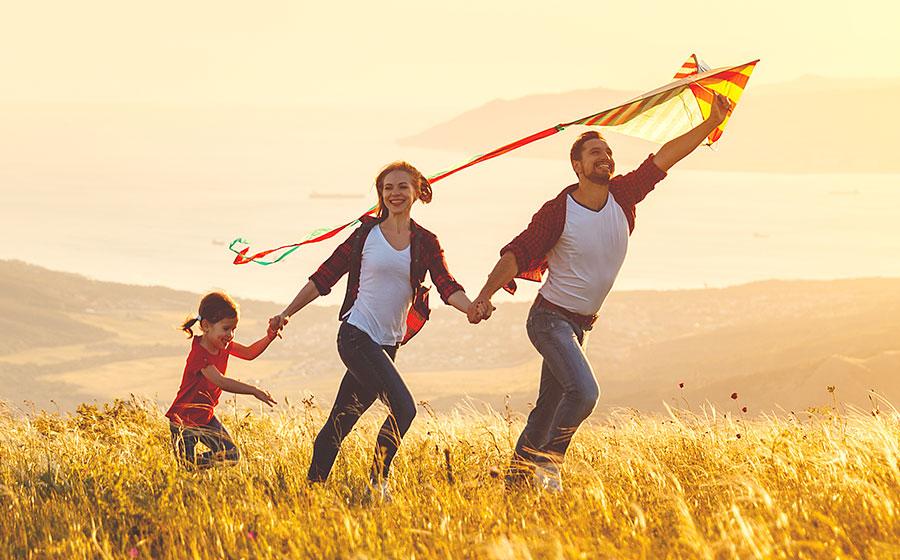 Happy life insuranced family