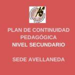 Secundario Avellaneda – Plan de Continuidad Pedagógica
