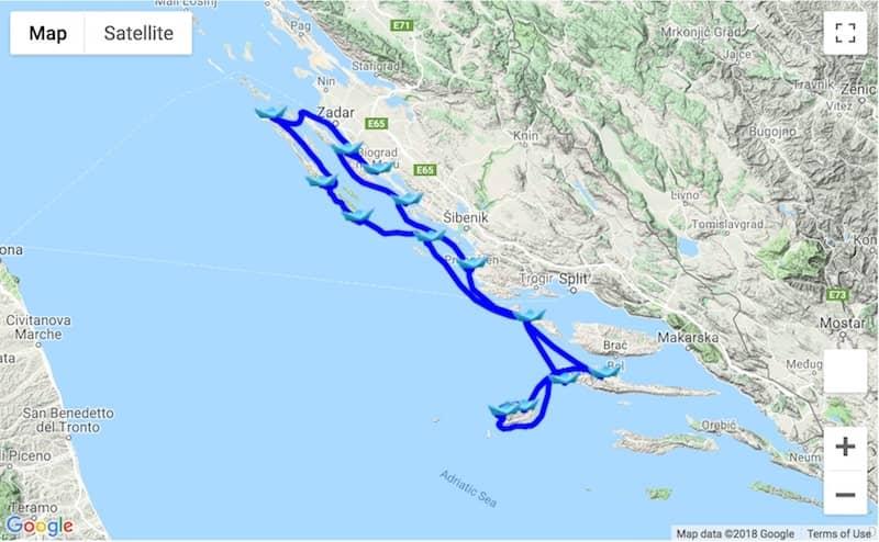 Itinerary 14-day Biograd na Moru - Dugi Otok - Vis - Hvar