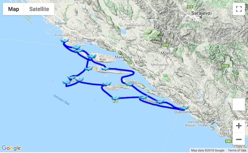 Itinerary 14-day Rogoznica - Dubrovnik