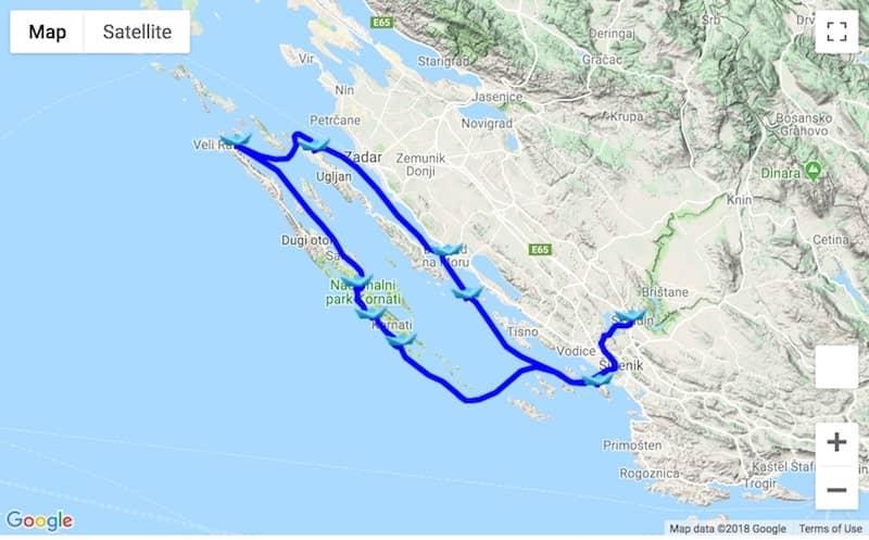 Itinerary Biograd na Moru - Dugi Otok - Krka