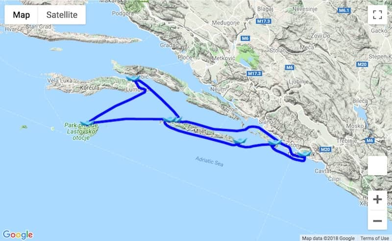Itinerary Dubrovnik - Korcula - Lastovo