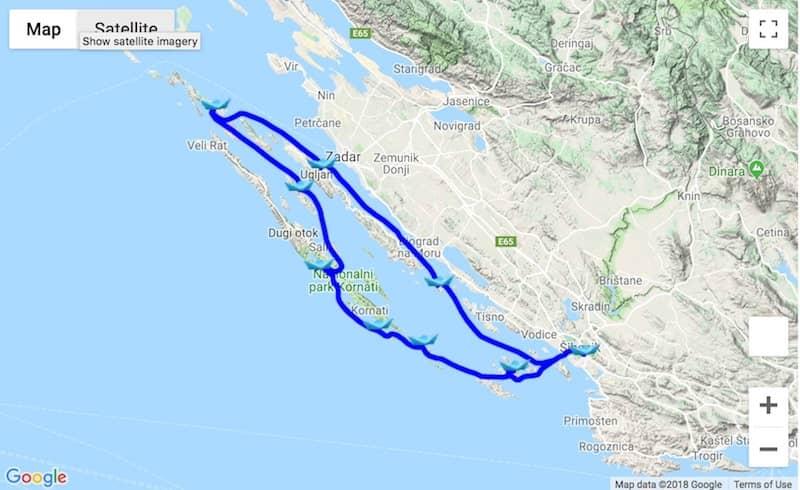 Itinerary Šibenik - Kornati - Molat