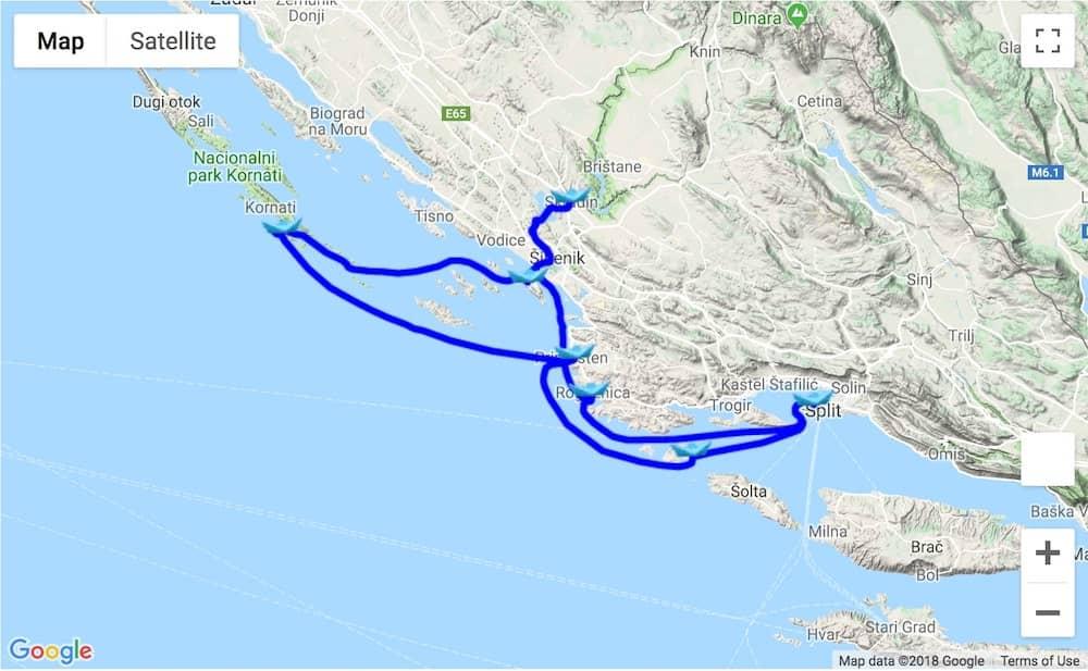 Itinerary Split - Kornati – Krka