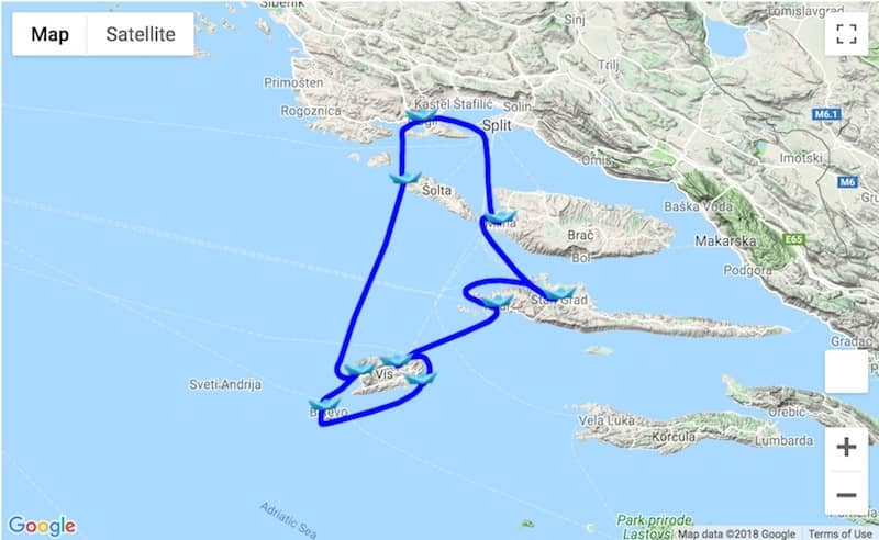 Itinerary Trogir - Hvar - Vis