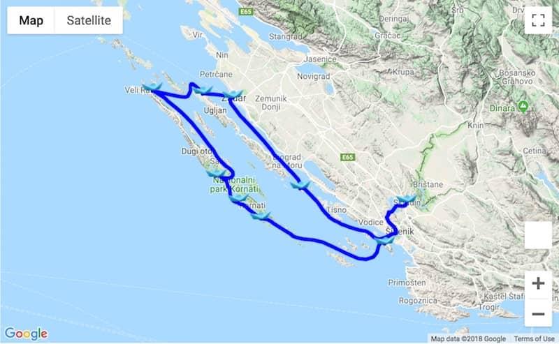 Itinerary Zadar - Kornati - Krka