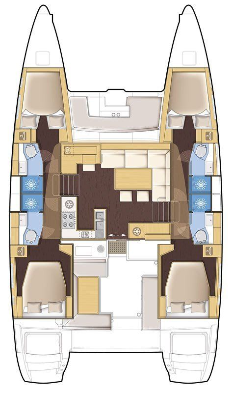 Catamaran Charter Croatia Lagoon 450 what is a catamaran layout
