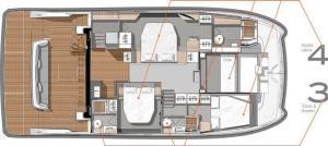 Fountaine Pajot MY 44 layout Power Catamaran Charter Croatia