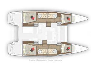 Lagoon 40 Charter Croatia 4 Cabin Layout