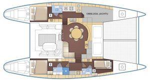 Lagoon 570 layout Catamaran Charter Croatia