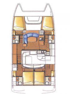 Lagoon Power 44 MY layout Catamaran Charter Croatia