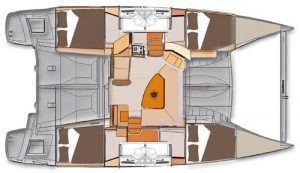 Fountaine Pajot Lipari 41 layout Catamaran Charter Croatia