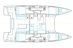 Nautitech Open 46 Fly layout Catamaran Charter Croatia