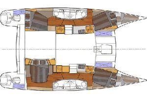 Fountaine Pajot Orana 44 layout Catamaran Charter Croatia