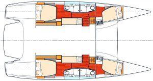Fountaine Pajot Salina 48 layout Catamaran Charter Croatia