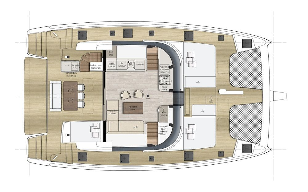 Sunreef 50 Catamaran Charter Croatia Original Layout 2