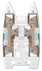 Lagoon 50 layout catamaran Charter Croatia