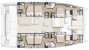 Bali 5.4 layout Catamaran for charter in Croatia