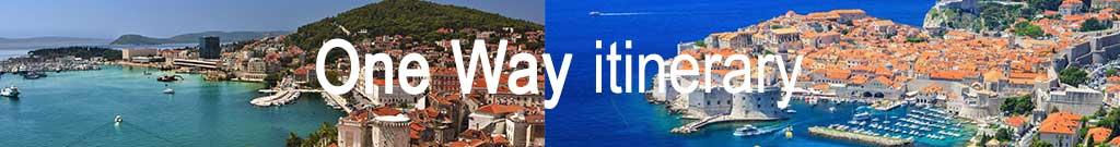 One way Dubrovnik - Split tinerary