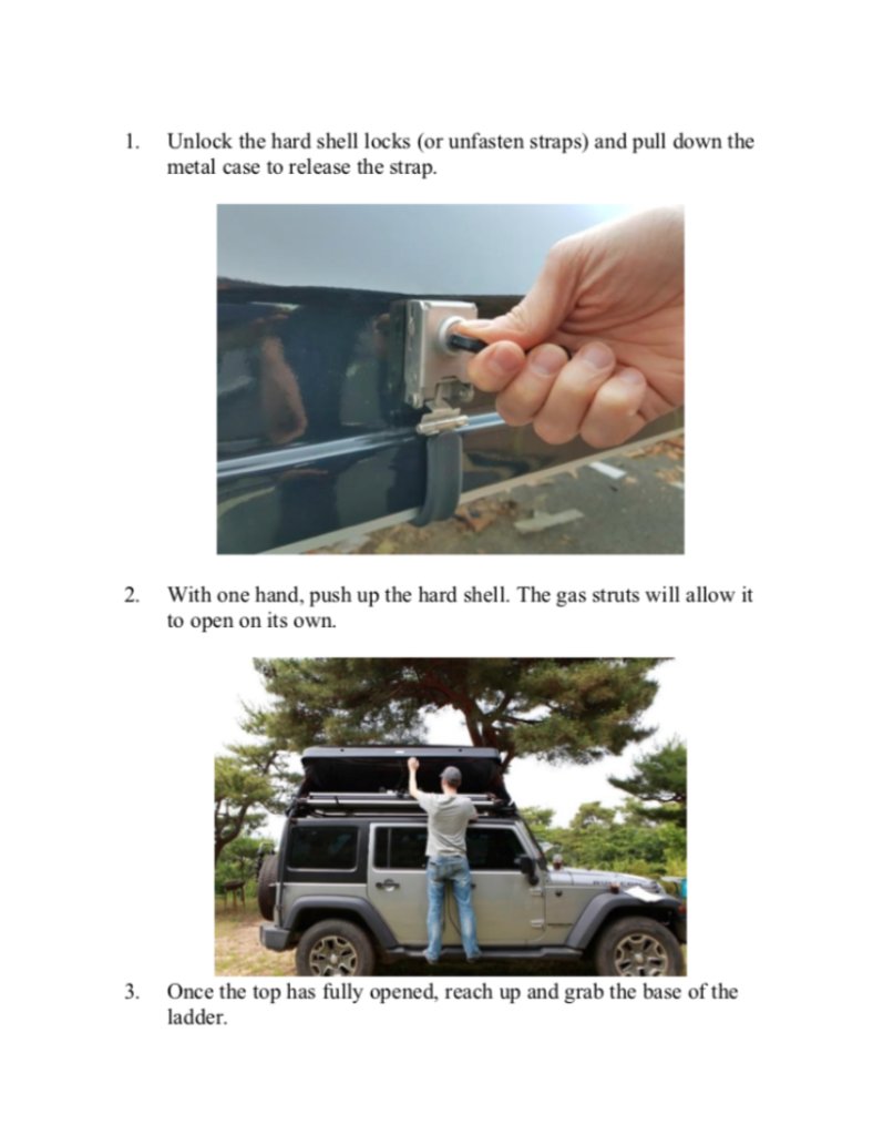 jeep rental canada rooftop tent instructions