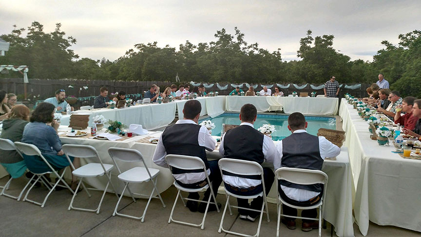 meal around the pool