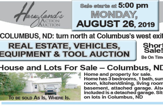 August 26 – Real Estate, Vehicles, Equipment & Tool Auction