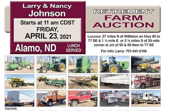 April 23, 2021 – Larry and Nancy Johnson Farm Auction