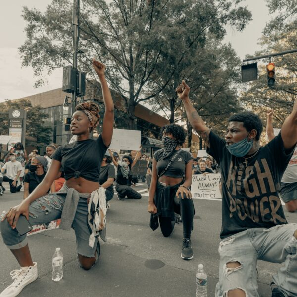 Peaceful protesters at a Black Lives Matter march