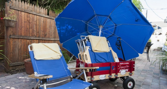 beach chair, umbrella, and wagon