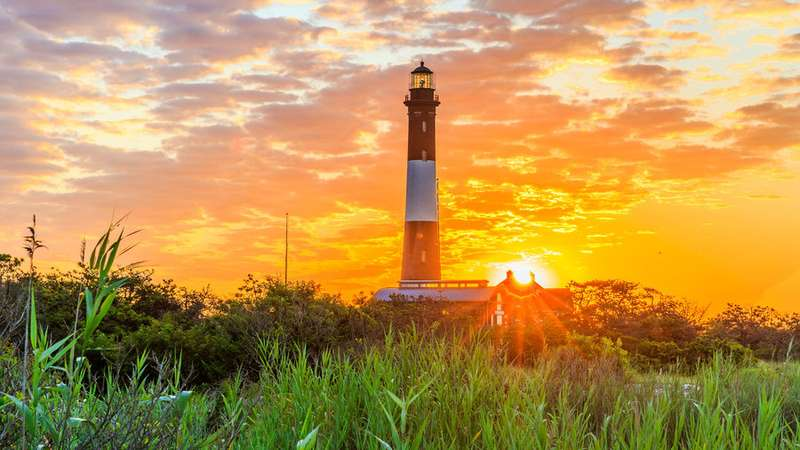 sunset view of the lighthouse