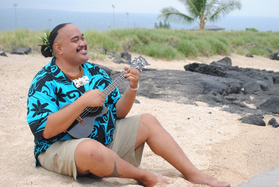 Singer/Songwriter Ali'i Keanaaina specializes in the falsetto style of Hawaiian singing.