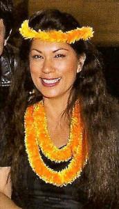 Michaela Larson, pa'u queen for King Kamehameha Day Parade, Kailua-Kona, 2014