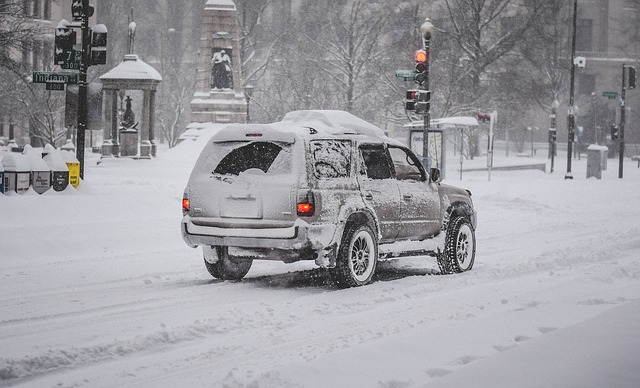 Winter Weather Emergency Car Driving in Snow
