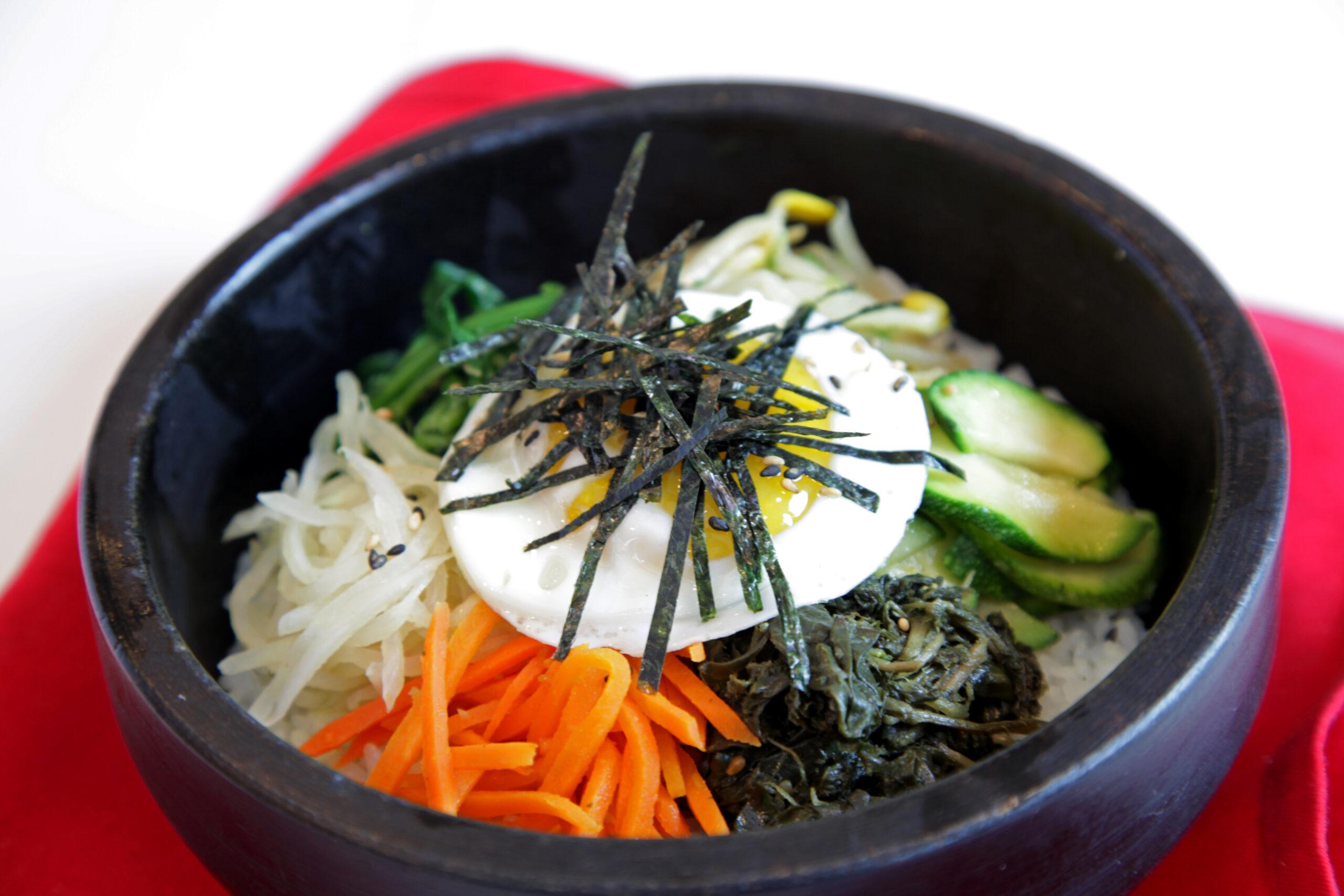 Bibim Bap <br> Meat and Vegetarian Sizzling Stone Bowls