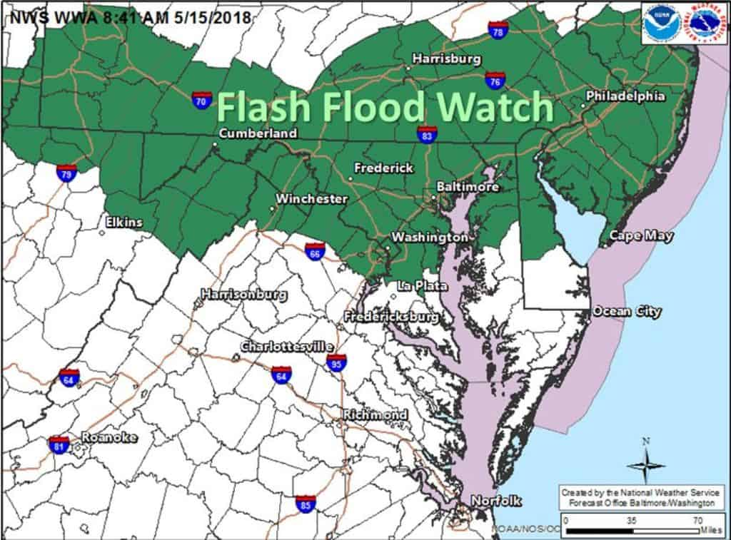 The National Weather Service (NWS) has issued a Flash Flood Watch for Alexandria, Virginia and the D.C. Metro area TODAY (Tuesday, May 15, 2018) from 3:00 p.m. through late tonight 1:00 a.m.