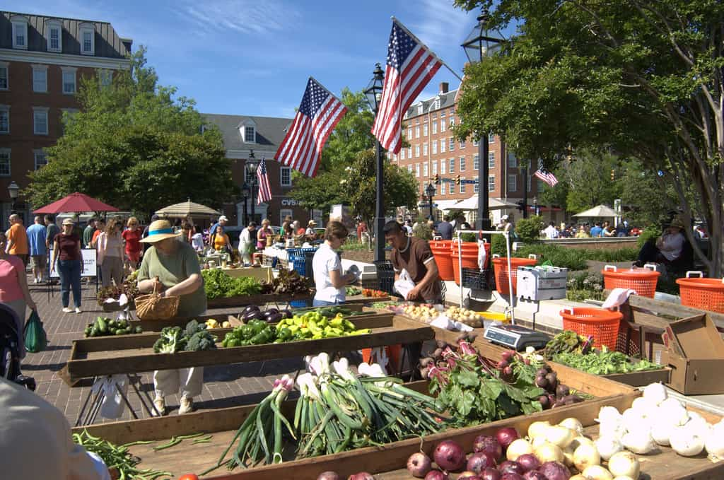 The Old Town Farmers Market in Alexandria, Virginia has been a place of activity in the community since 1753 and is considered one of the longest running Farmers Markets in the United States. The Farmers Market runs Saturdays from 7:00 AM to 12:00 PM.