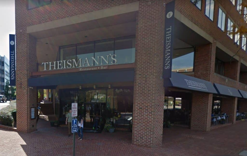 Theismann's, which is located at 1800 Diagonal Road near the King Street Metro, has a 40 seat bar, GREAT food and beer, 13 HUGE flat screen TVs, and a great sports atmosphere.