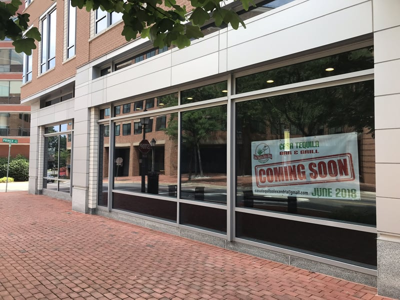 Casa Tequila Bar & Grill is opening soon (sign says June 2018) in Old Town Alexandria, Virginia at 1701 Duke Street near the King Street Metro Station.