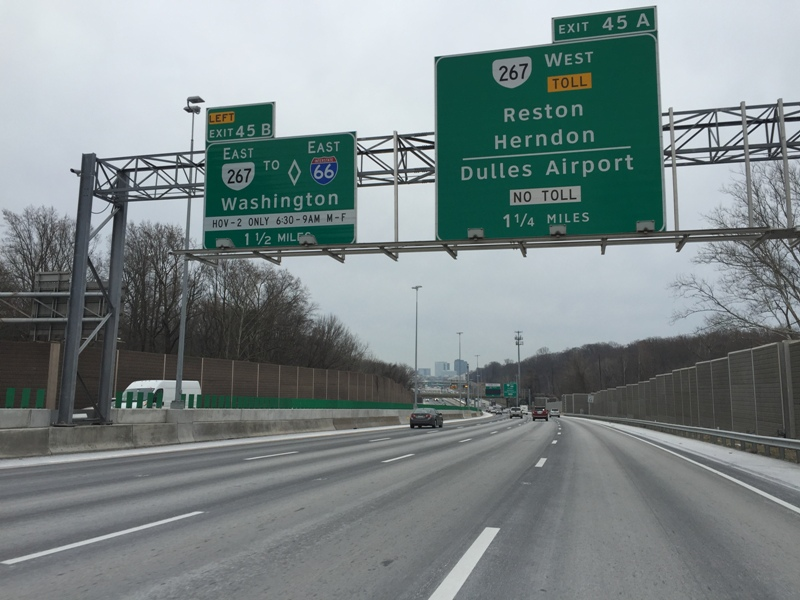 The ramp from the eastbound Dulles Toll Road (Route 267) to the southbound 495 Express Lanes will be closed (weather permitting) Saturday, January 26 for pile driving related to the Jones Branch Connector project, according to the Virginia Department of Transportation.
