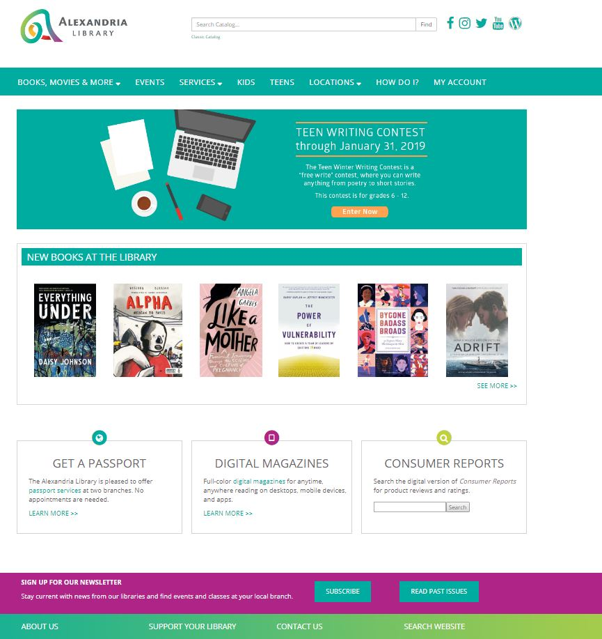 The Alexandria Library unveiled a redesigned website today. The new website is designed to make it easier to use for Alexandria Library users. Details...