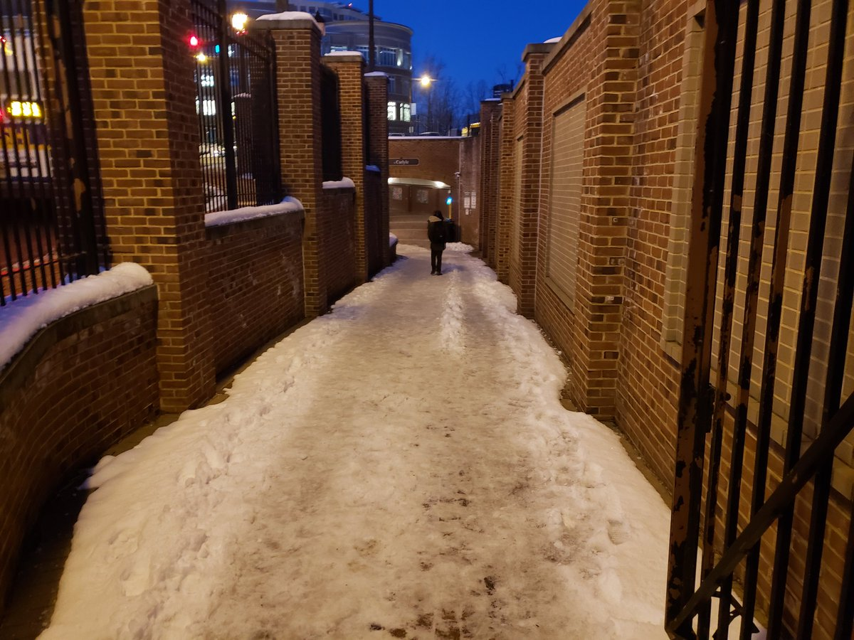 The City of Alexandria, Virginia forgot to remove snow and ice from this portion of the Duke Street tunnel near the King Street Metro Station.